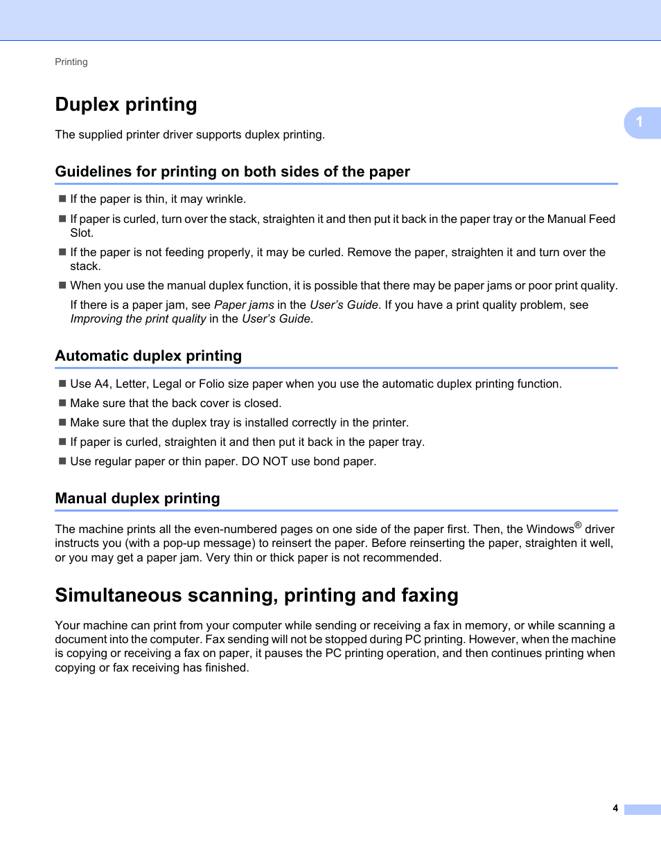 Duplex printing, Guidelines for printing on both sides of the paper,  Automatic duplex printing | Konica Minolta bizhub 20 User Manual | Page 12  / 227