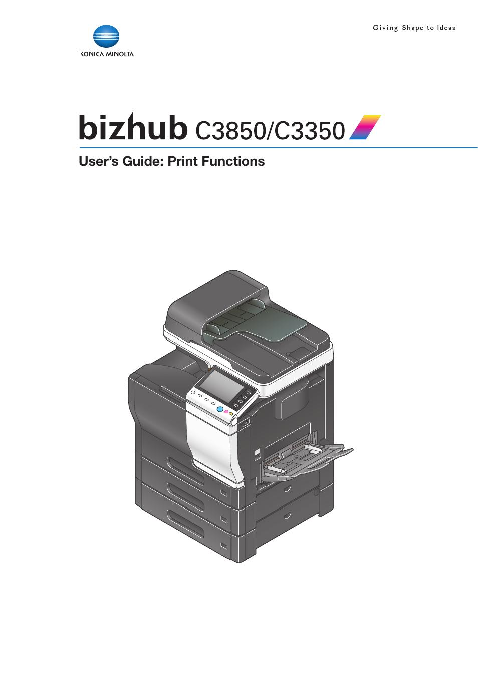 Konica Minolta bizhub C3350 User Manual | 119 pages | Also for: bizhub C3850