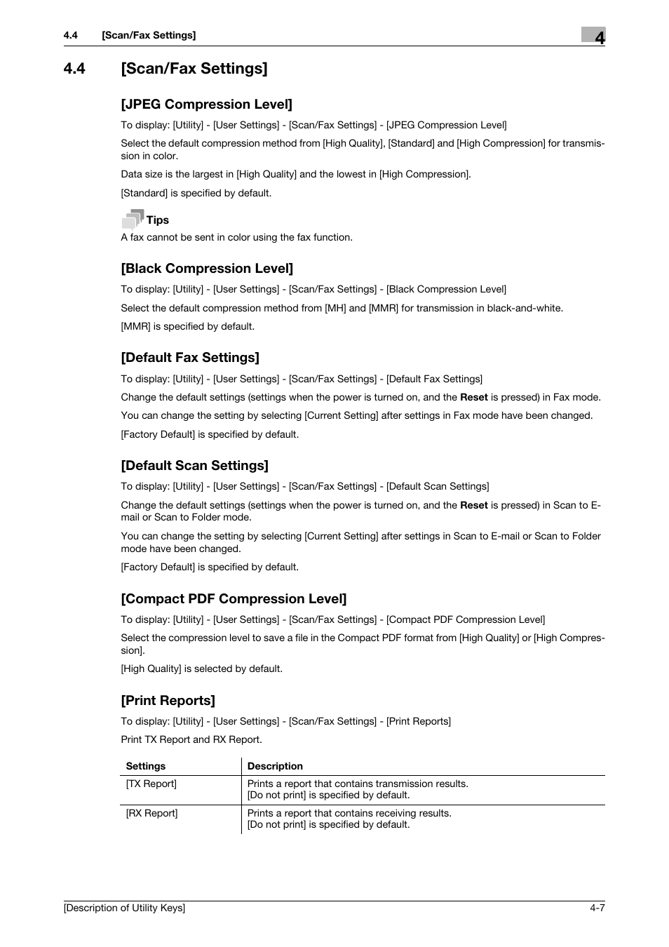 4 [scan/fax settings, Jpeg compression level, Black