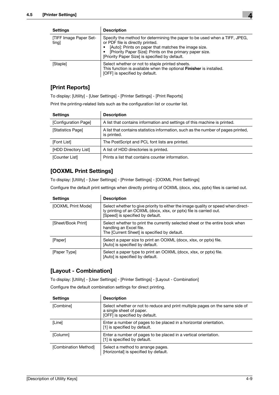 Print reports, Ooxml print settings, Layout - combination