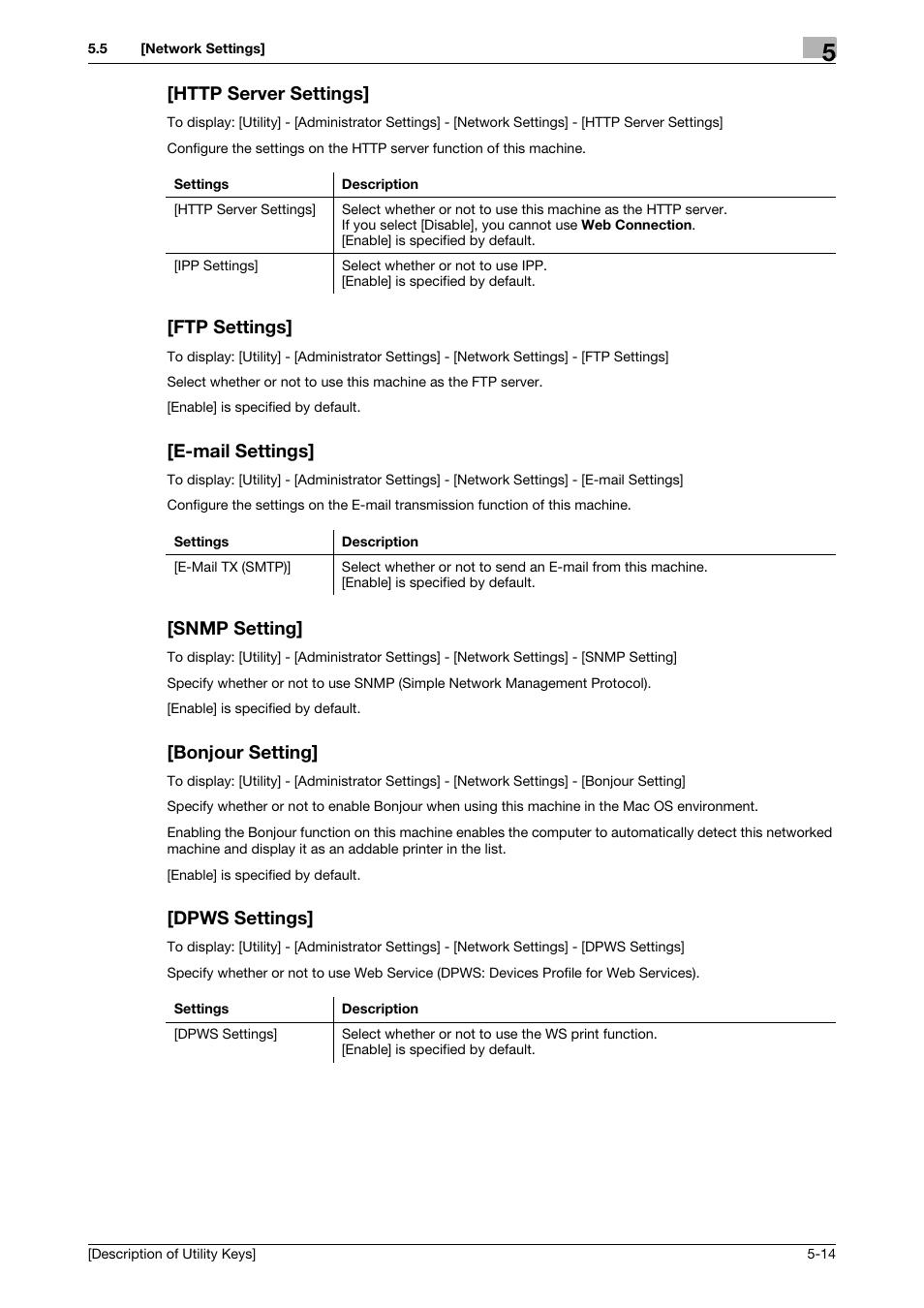 Http server settings, Ftp settings, E-mail settings | Konica Minolta