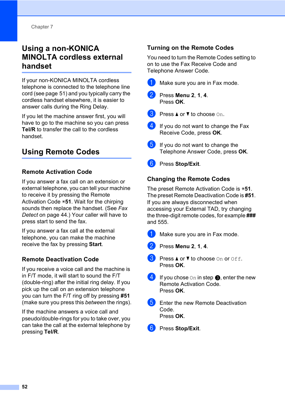 Using remote codes | Konica Minolta bizhub 20 User Manual | Page 61