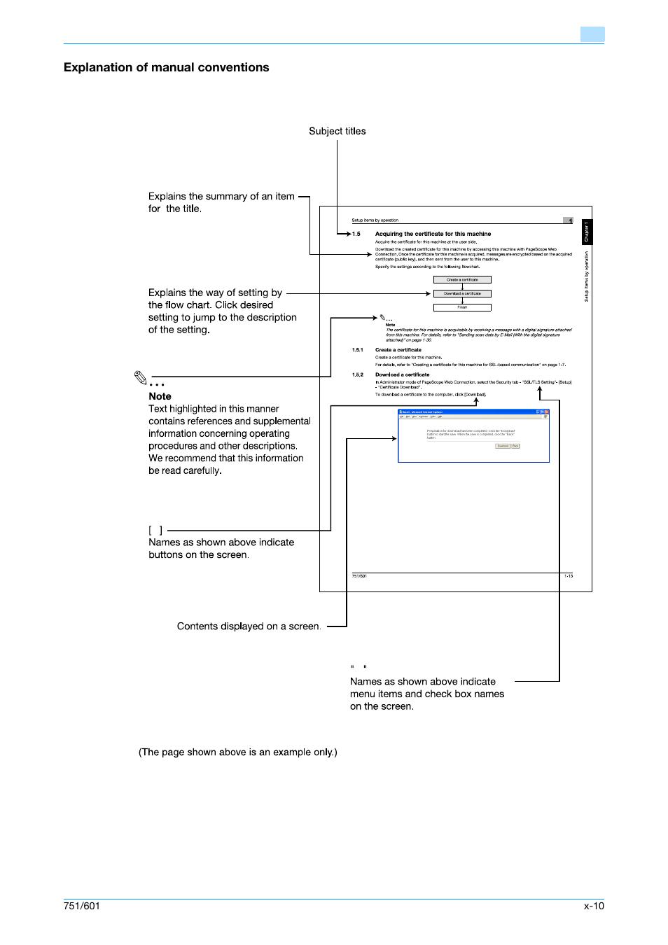 Explanation of manual conventions | Konica Minolta bizhub 601 User Manual |  Page 11 / 233