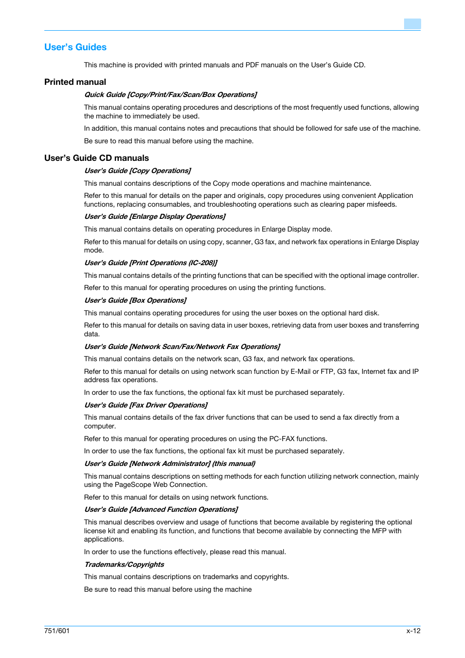User's guides, Printed manual, User's guide cd manuals | Konica Minolta  bizhub 601 User