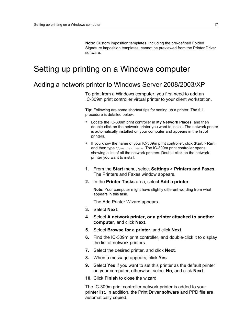 Setting up printing on a windows computer   Konica Minolta bizhub