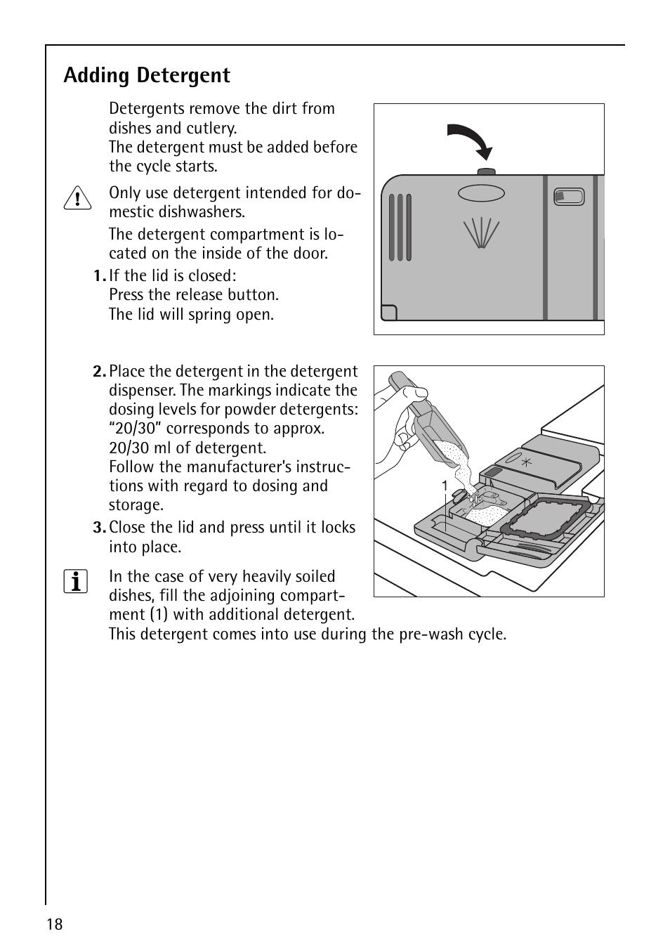 adding detergent aeg favorit 40850 user manual page 18 44 rh manualsdir com