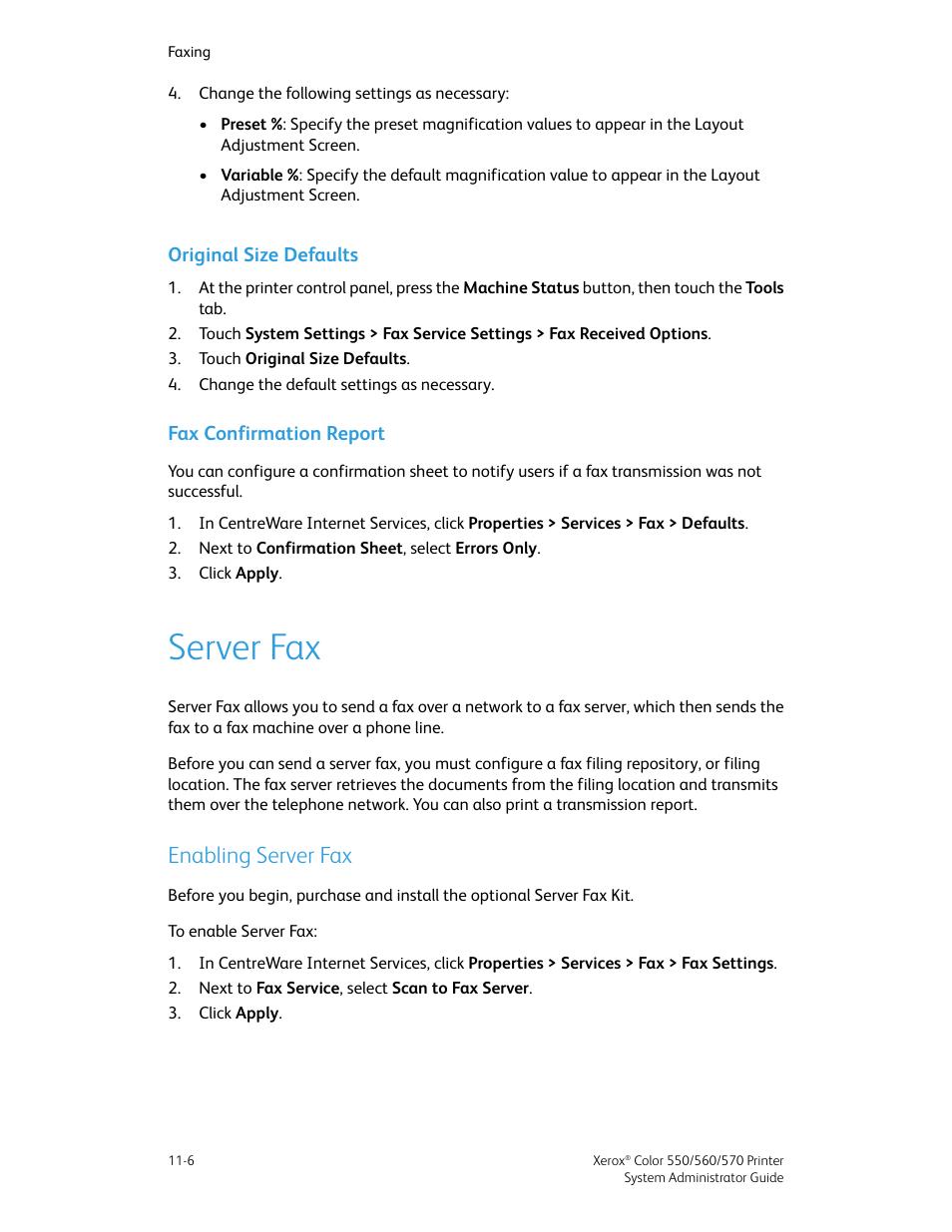 original size defaults fax confirmation report server fax xerox
