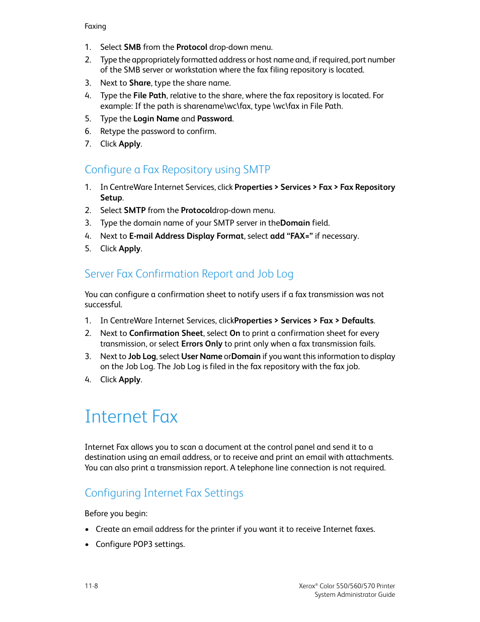 Configure a fax repository using smtp, Server fax confirmation