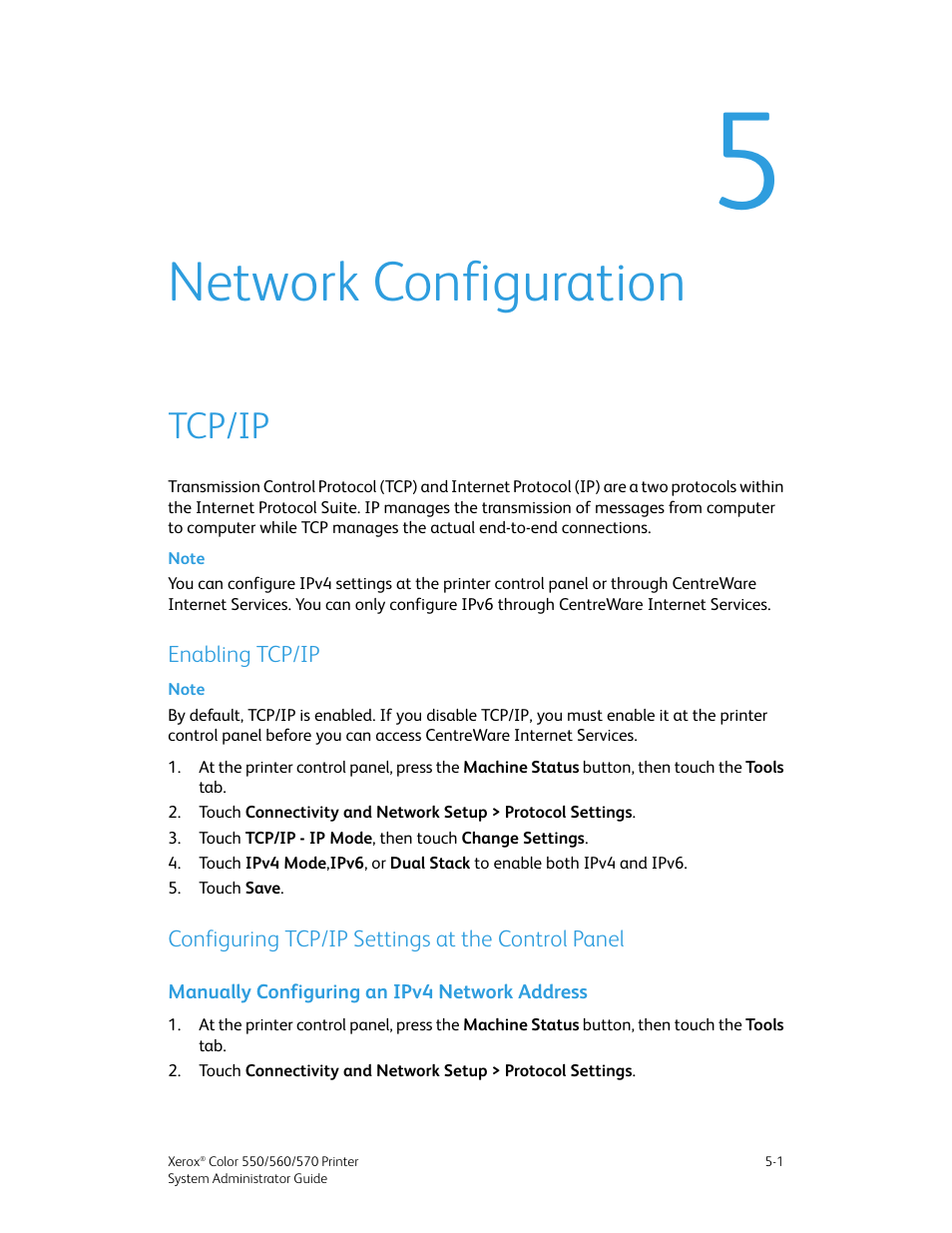 Network configuration, Tcp/ip, Enabling tcp/ip | Xerox Color 550-560