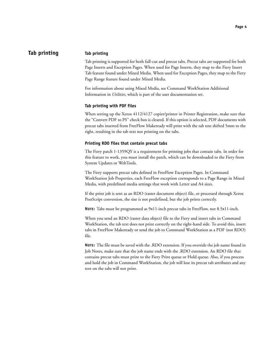 Tab printing, Tab printing with pdf files, Printing rdo
