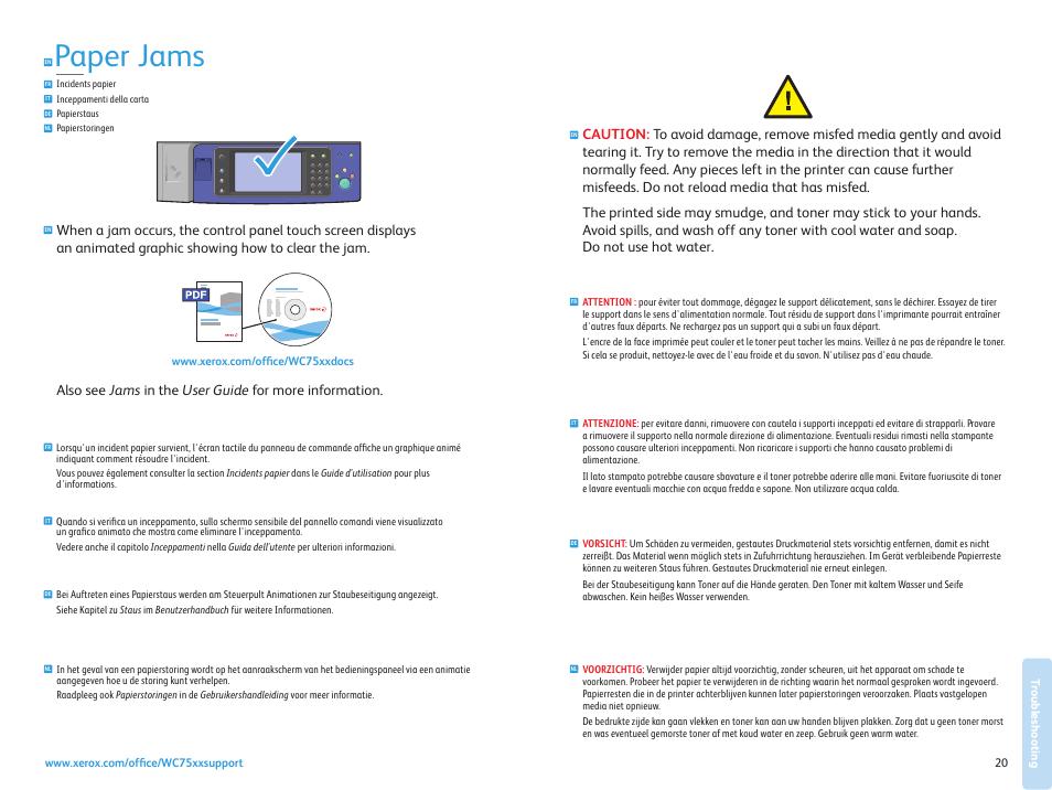 paper jams troubleshooting xerox workcentre 7525 7530 7535 7545 rh manualsdir com xerox 3325 user manual xerox c405 user manual
