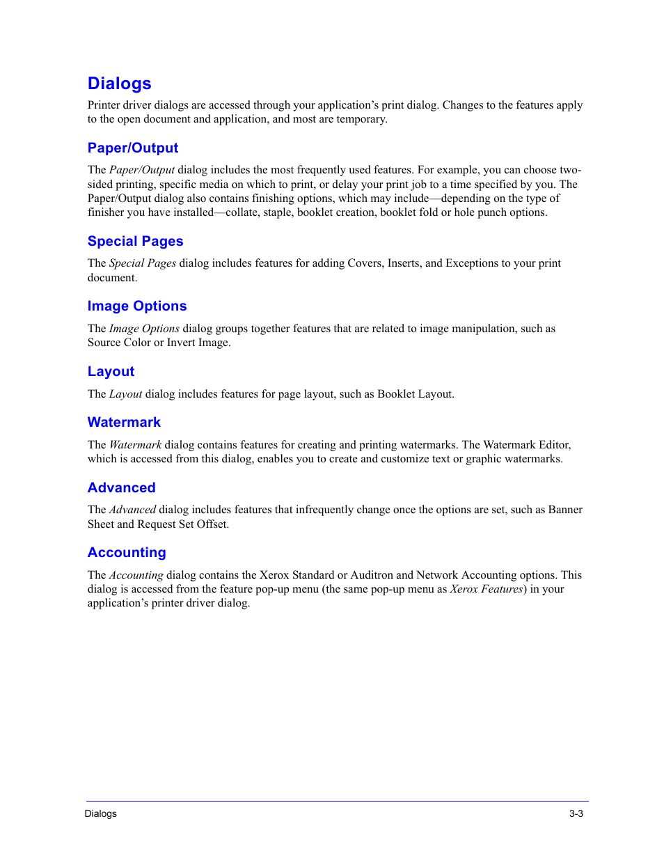 Dialogs, Paper/output, Image options | Xerox WorkCentre 7655-7665-7675-2530  User Manual | Page 17 / 32