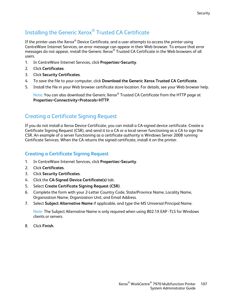 Creating a certificate signing request installing the generic creating a certificate signing request installing the generic xerox trusted ca certificate xerox workcentre 7970 2606 user manual page 107 268 xflitez Image collections