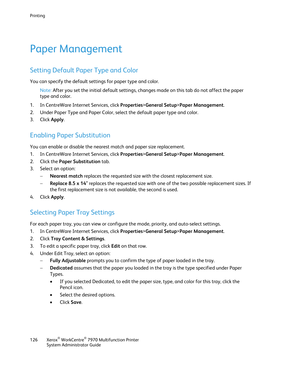 Paper management, Setting default paper type and color