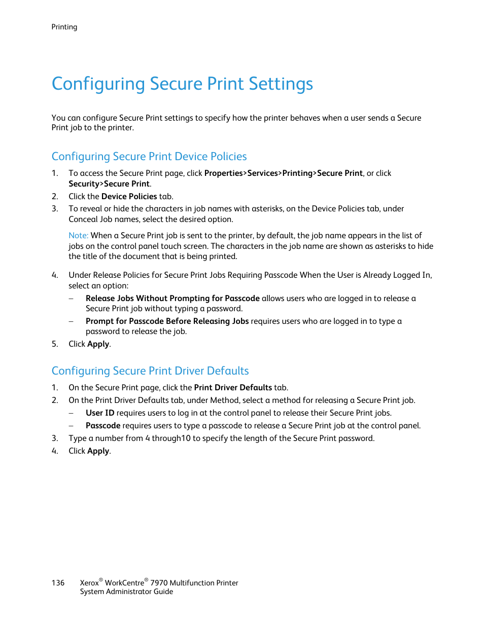 Configuring secure print settings, Configuring secure print device