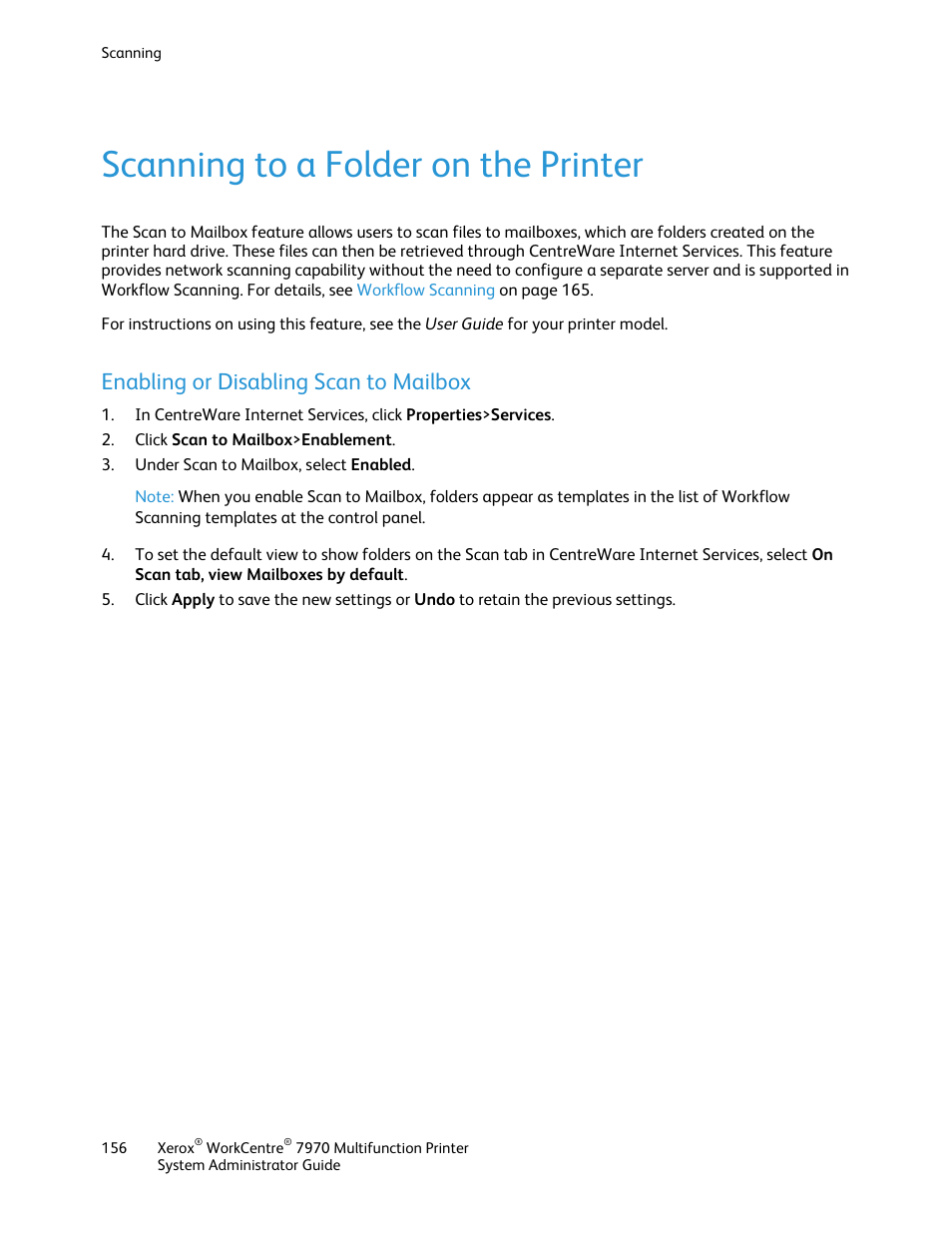 Scanning to a folder on the printer, Enabling or disabling scan to