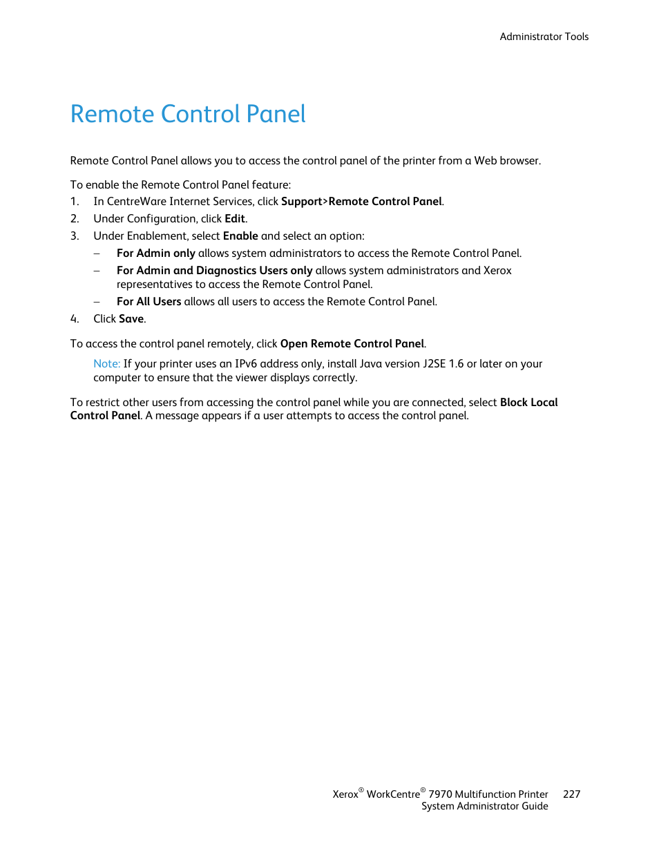open control panel remotely
