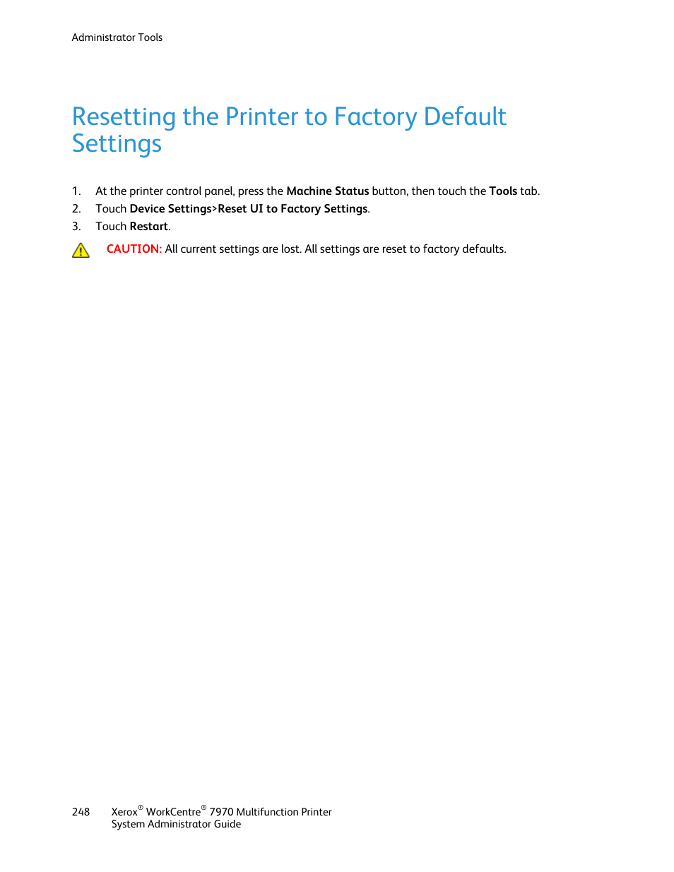 Resetting the printer to factory default settings | Xerox