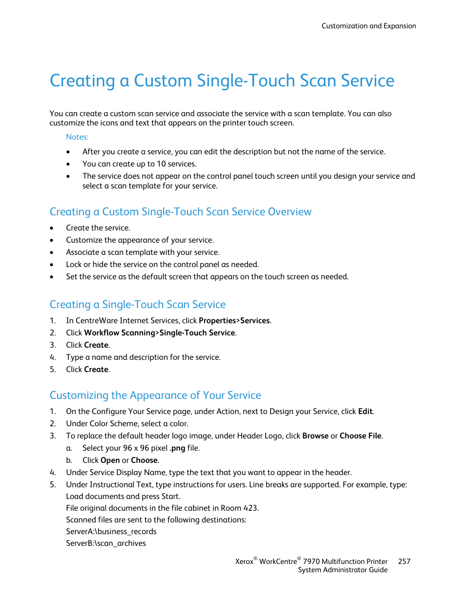 Creating a custom single-touch scan service, Creating a single-touch