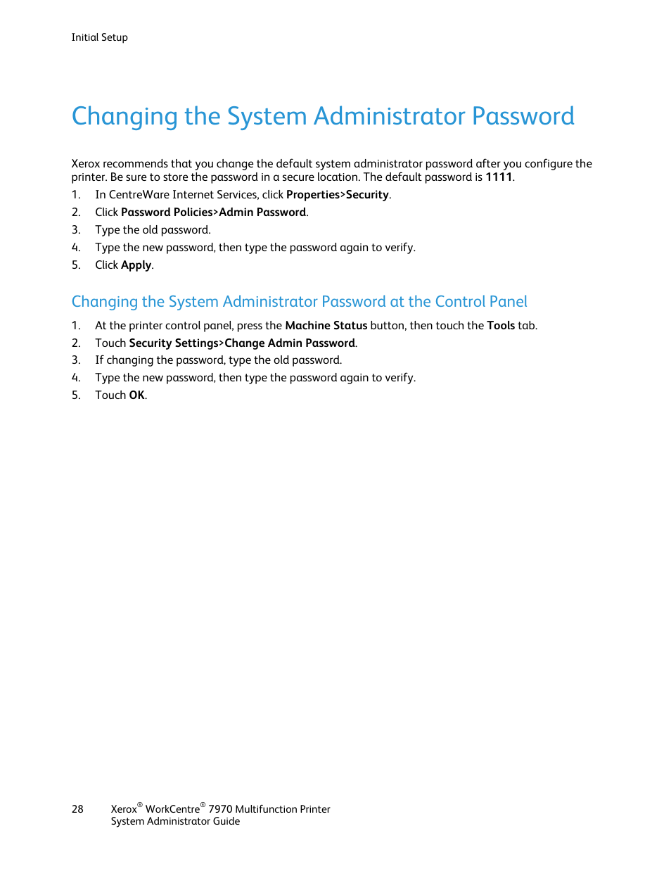 Changing the system administrator password | Xerox WorkCentre 7970