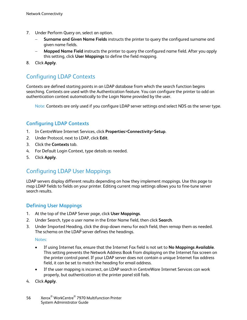 Configuring ldap contexts, Configuring ldap user mappings, Defining