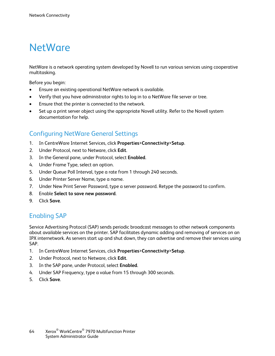 Netware, Configuring netware general settings, Enabling sap