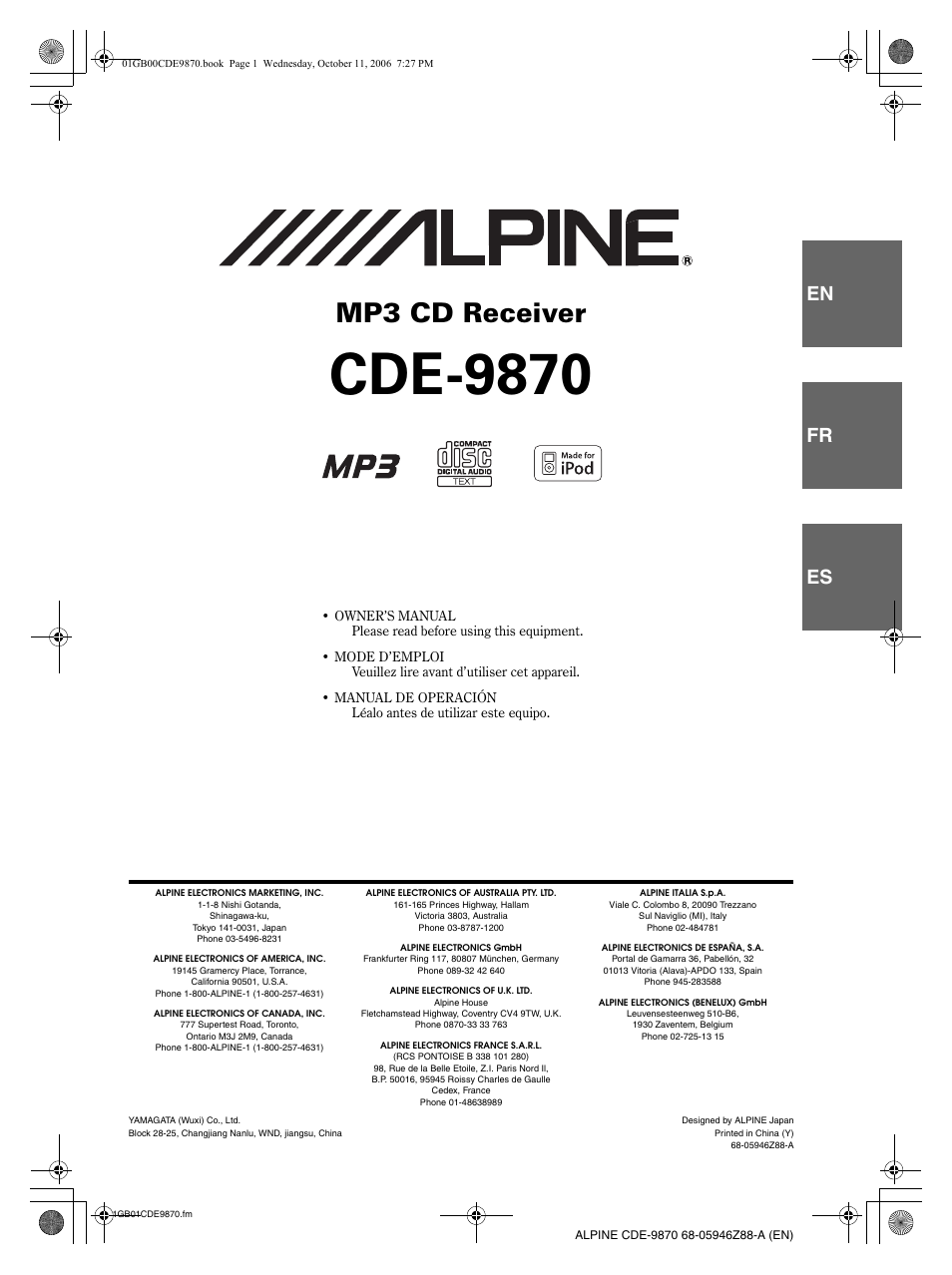 alpine cde 9870 user manual 84 pages rh manualsdir com Alpine CDE 7804 CDE-9870 Alpine iPod Cable