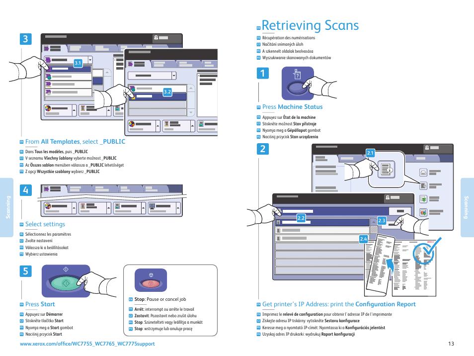 Retrieving scans, Press start, Select settings   Xerox