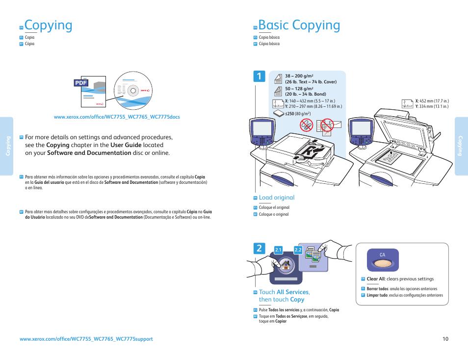 Copying, Copia cópia, Copia básica cópia básica | Xerox WorkCentre