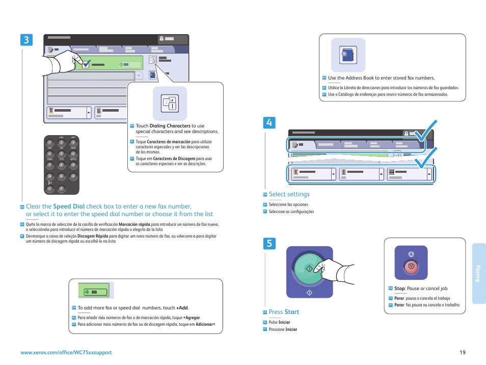 Select settings, Press start | Xerox WorkCentre 7525-7530