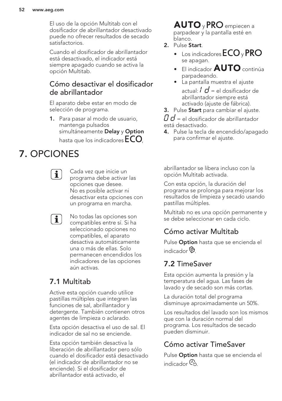 Cómo desactivar el dosificador de abrillantador, Opciones, 1 multitab |  Cómo activar multitab,