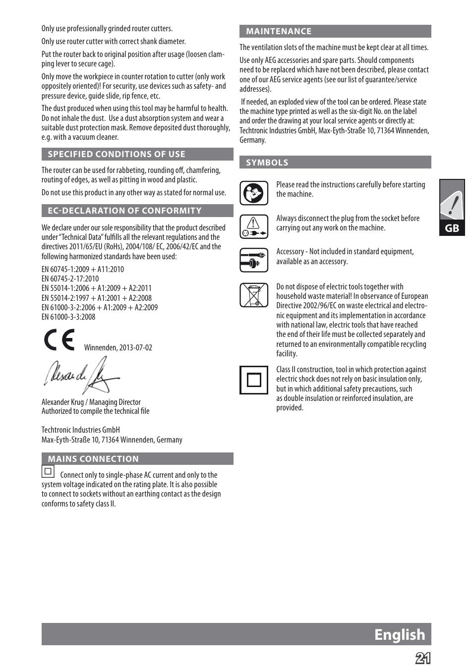 english aeg mf 1400 ke user manual page 23 76 original mode rh manualsdir com Operators Manual Operators Manual