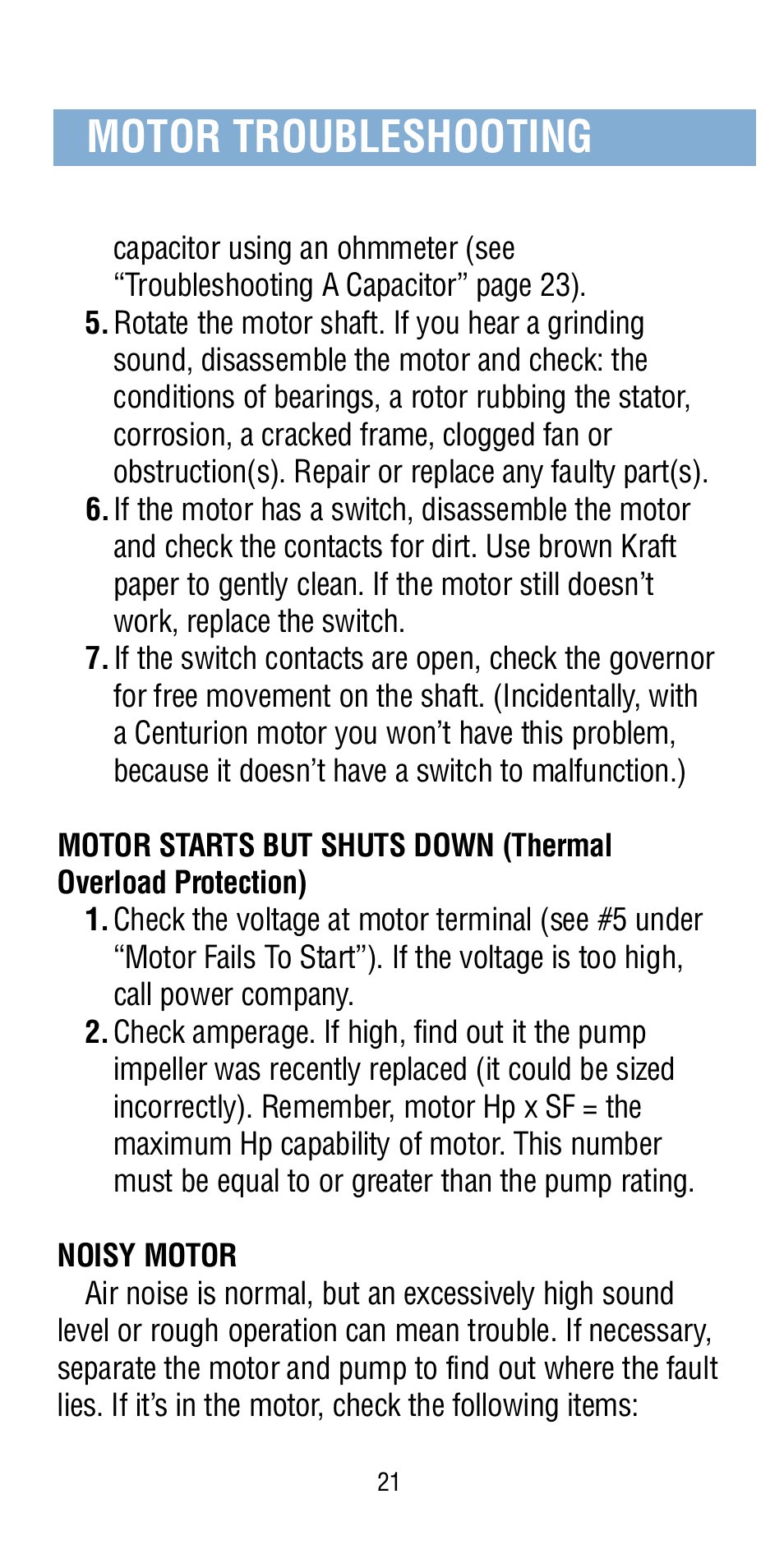 Motor troubleshooting | A.O. Smith Century Pool & Spa Motor User Manual | Page 22 / 59