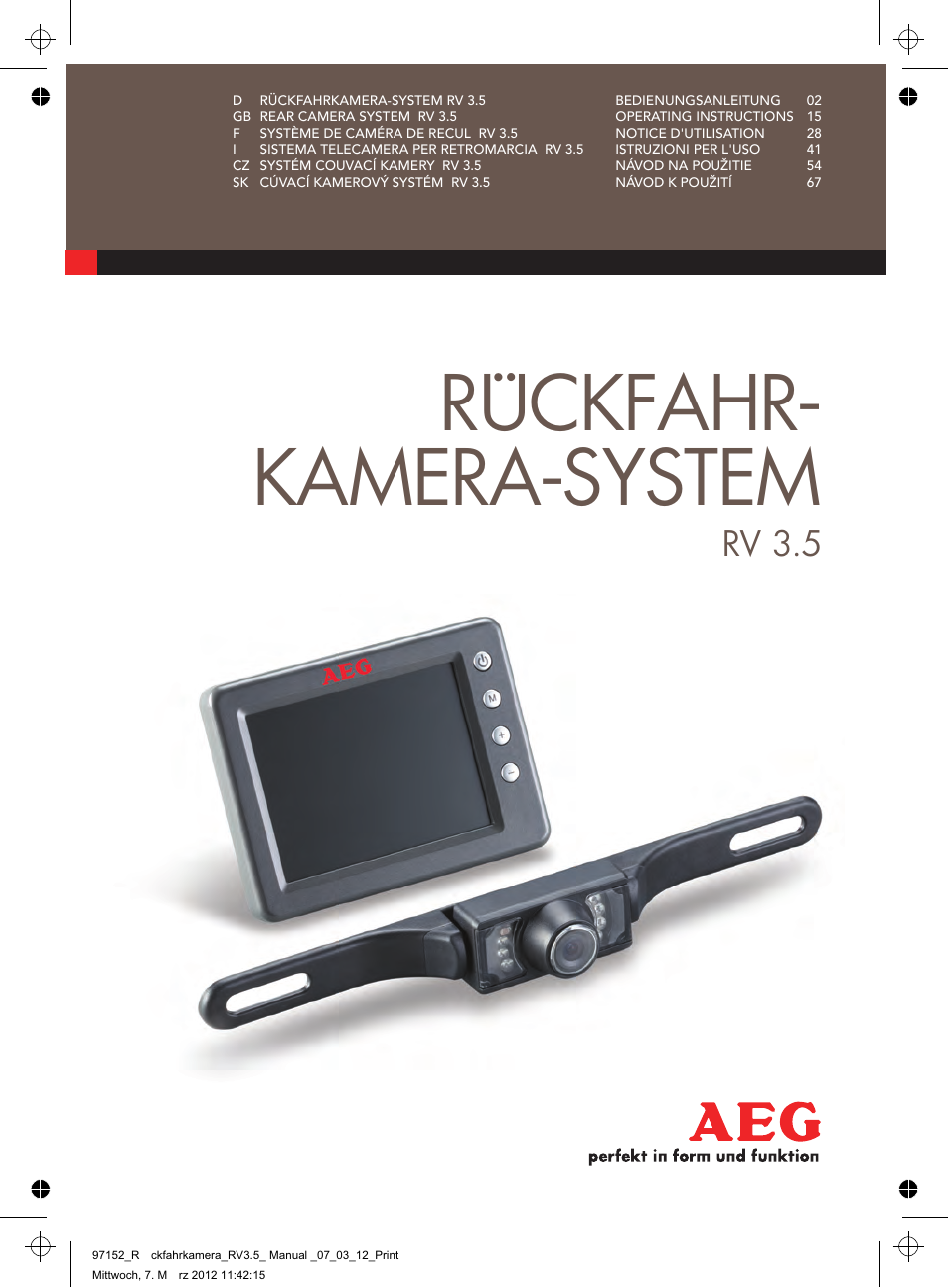 AEG Rear Camera System RV 3.5 User Manual | 80 pages