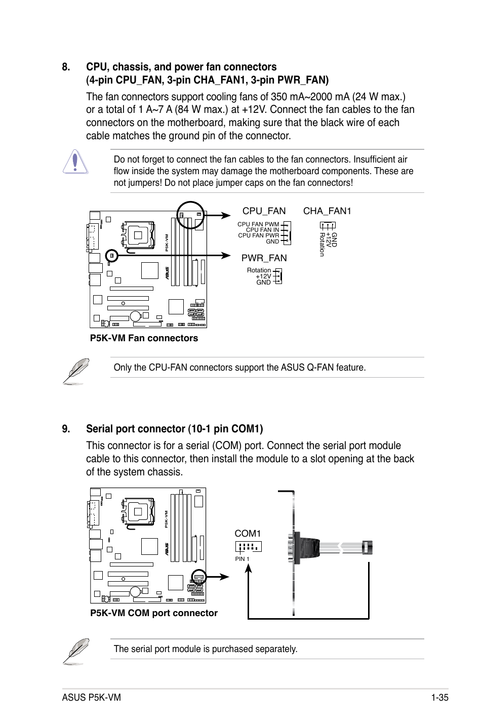 Asus P5k Vm User Manual Page 47 98 4 Pin Computer Fan Wire Diagram