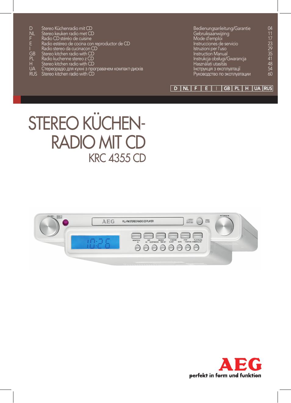 aeg krc 4355 cd user manual | 66 pages