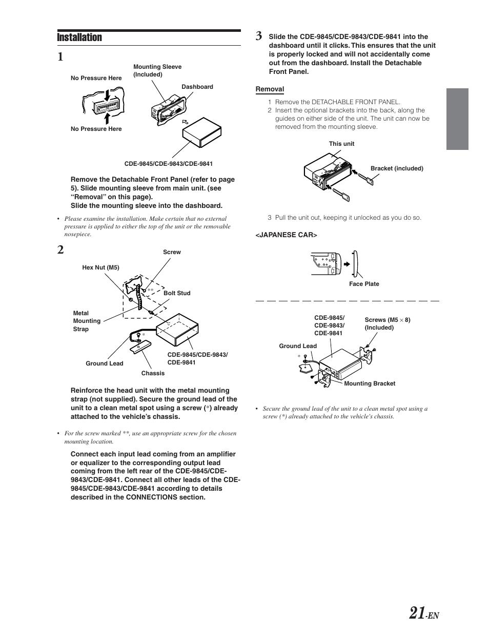 installation removal installation alpine cde 9841 user manual rh manualsdir com