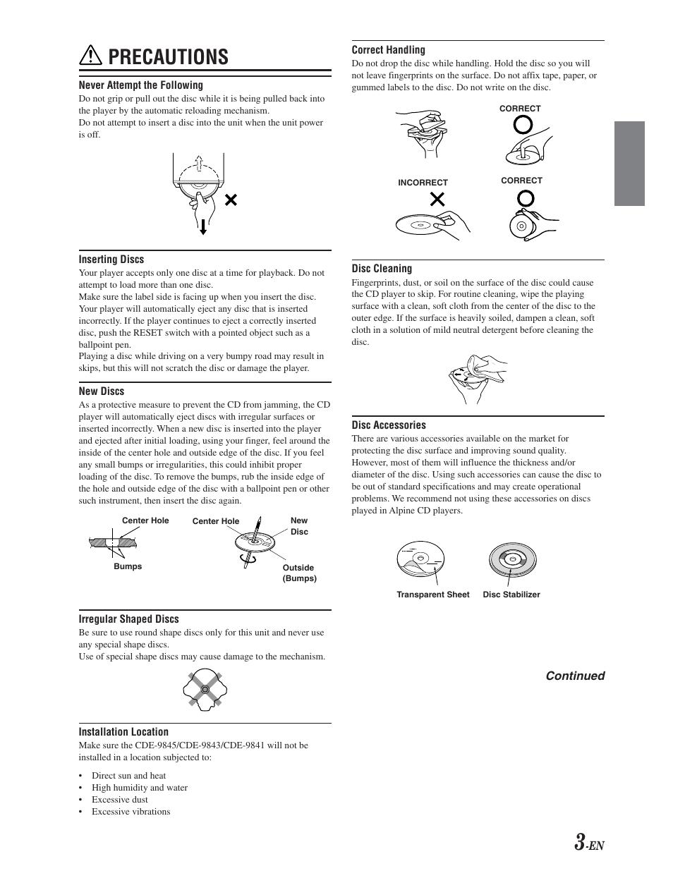 precautions alpine cde 9841 user manual page 4 27 original mode rh manualsdir com