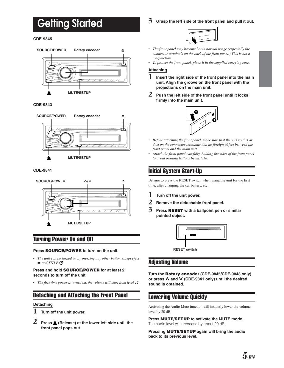 reset basic operations power on off alpine cde 9841 user rh manualsdir com