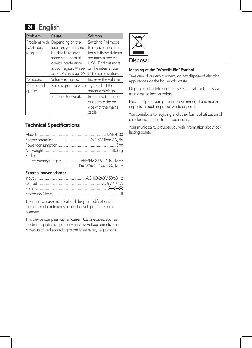 english technical specifications disposal aeg dab 4130 user rh manualsdir com Instruction Manual Book Instruction Manual