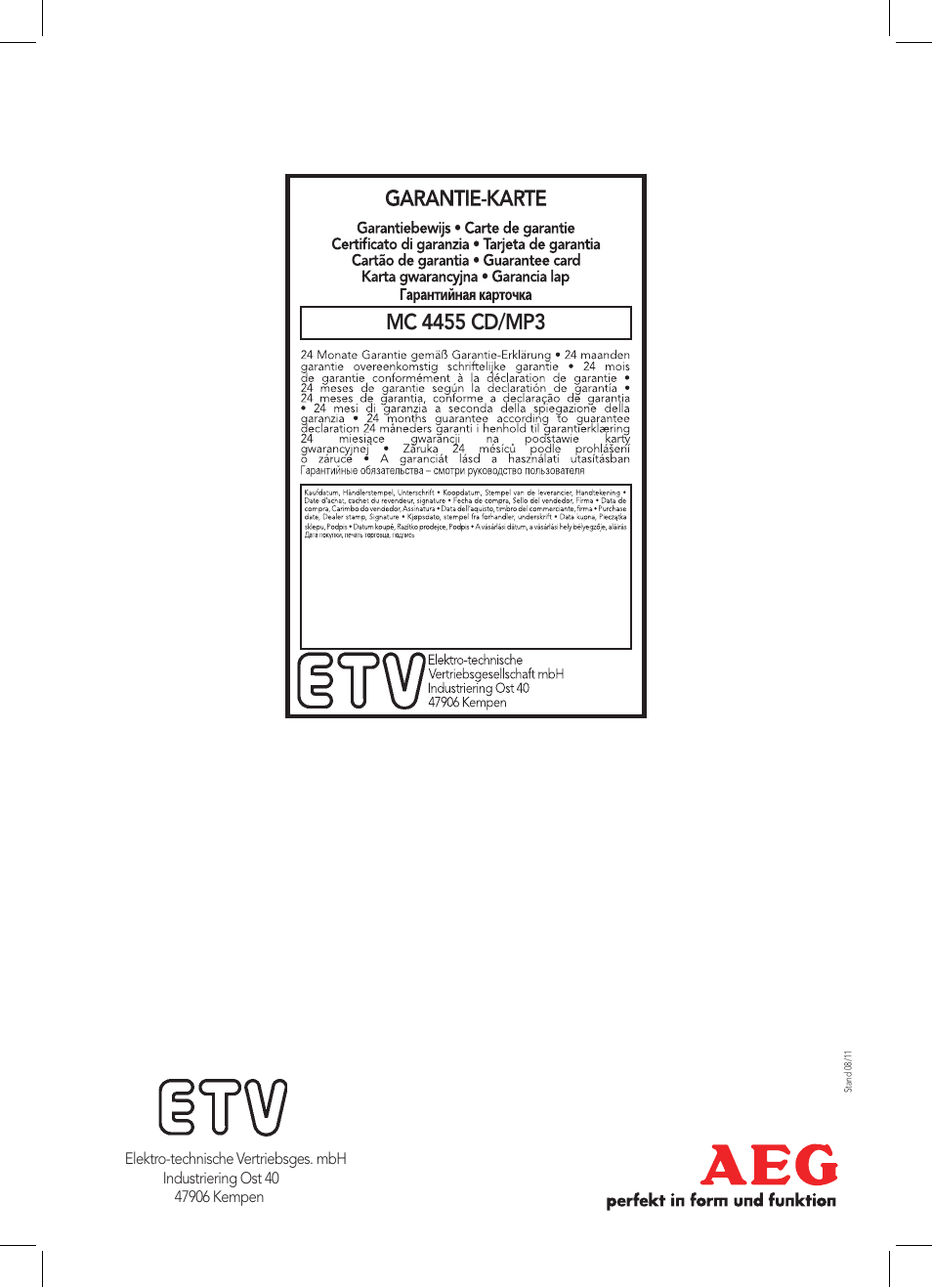 AEG MC 4455 CD-MP3 User Manual | Page 38 / 38 | Original mode