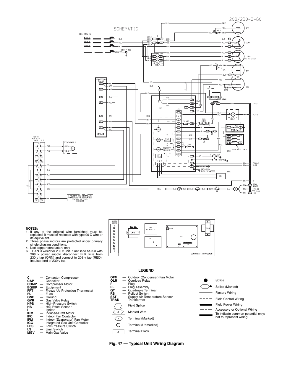 Fig 47 Typical Unit Wiring Diagram Bryant Durapac 580f User Limit Switch Schematic Manual Page 52
