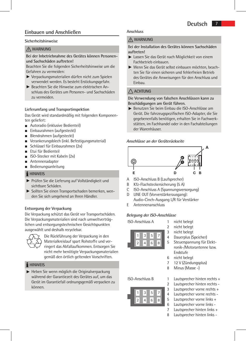 deutsch einbauen und anschlie en aeg ar 4020 user manual page 7 90. Black Bedroom Furniture Sets. Home Design Ideas