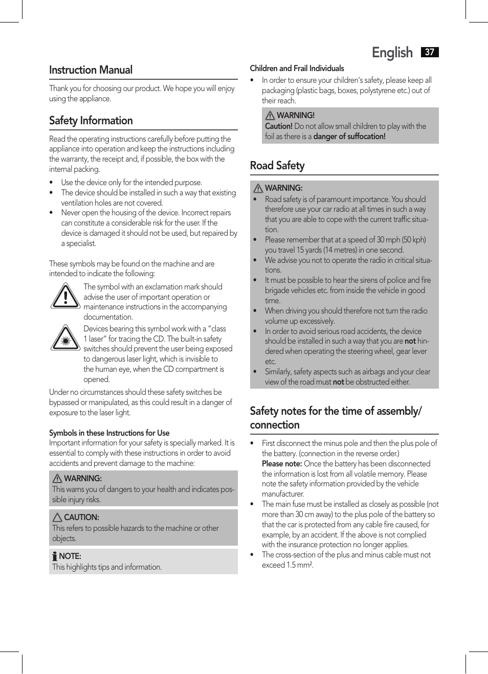 English Instruction Manual Safety Information Aeg Ar 4027 Usb Cr