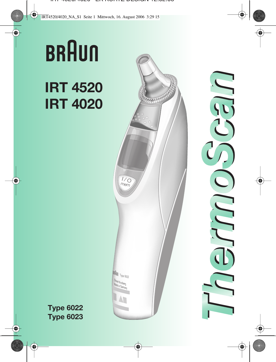Wrg-3427] braun thermoscan ear thermometer type 6022 manual | 2019.
