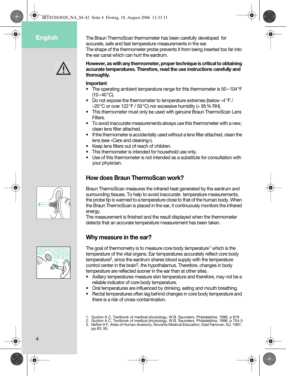 How does braun thermoscan work, Why measure in the ear, English | Braun  ThermoScan IRT 4520 User Manual | Page 4 / 42