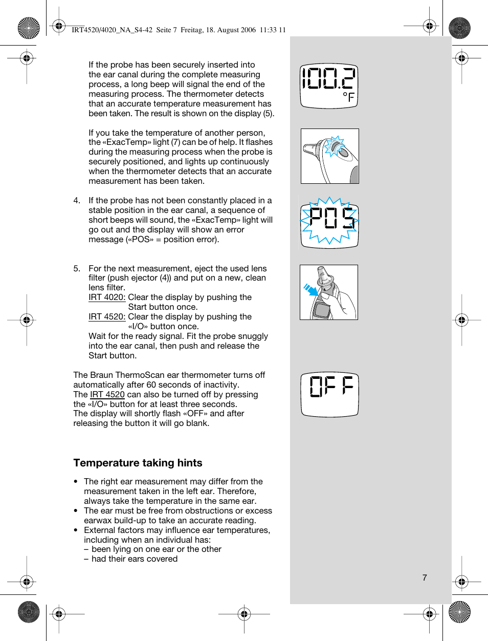 temperature taking hints braun thermoscan irt 4520 user manual rh manualsdir com Braun Thermometer Manual braun thermoscan irt 4020 manuel