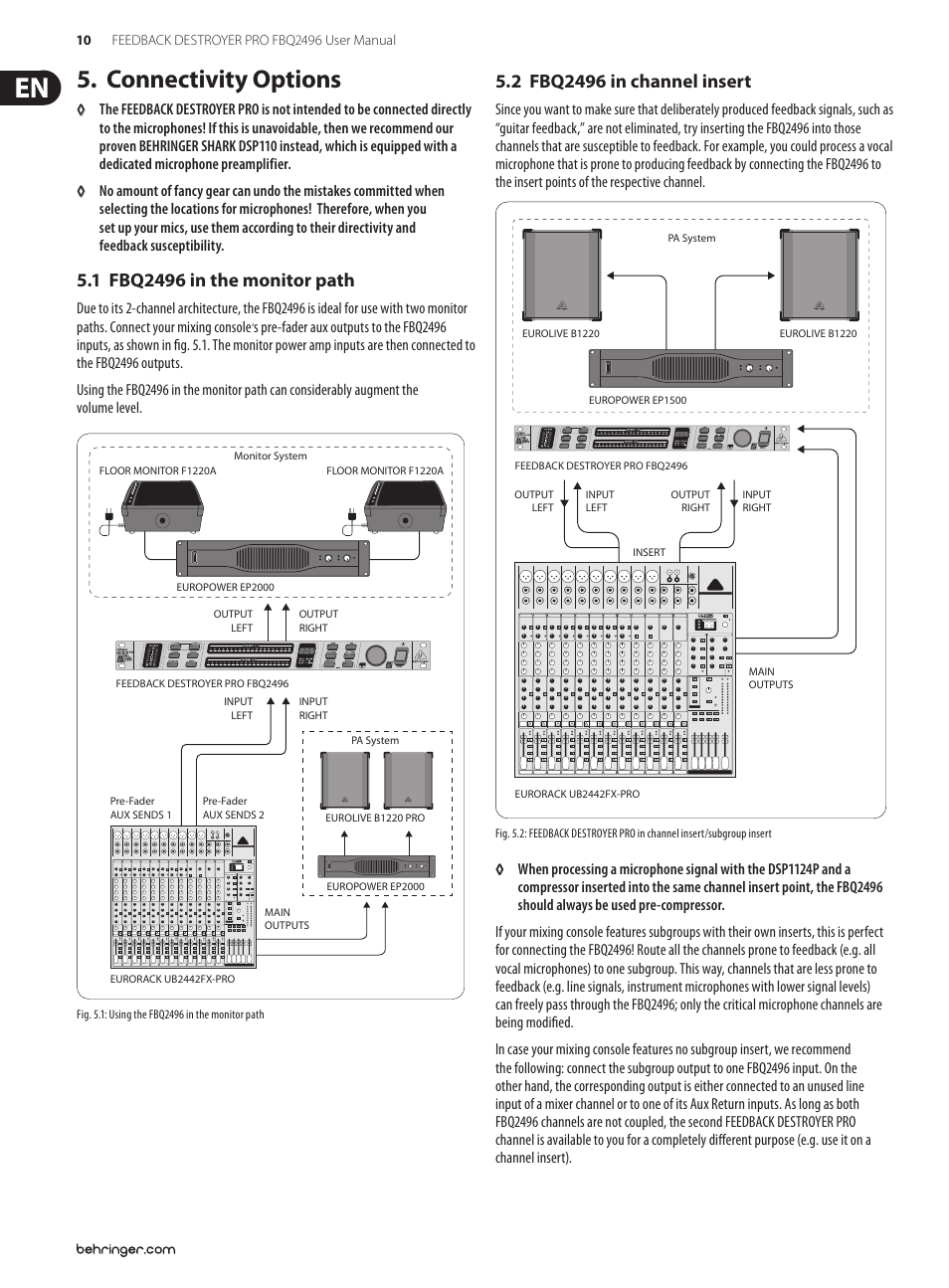 Connectivity options | Behringer Feedback Destroyer Pro FBQ2496 User Manual  | Page 10 / 16