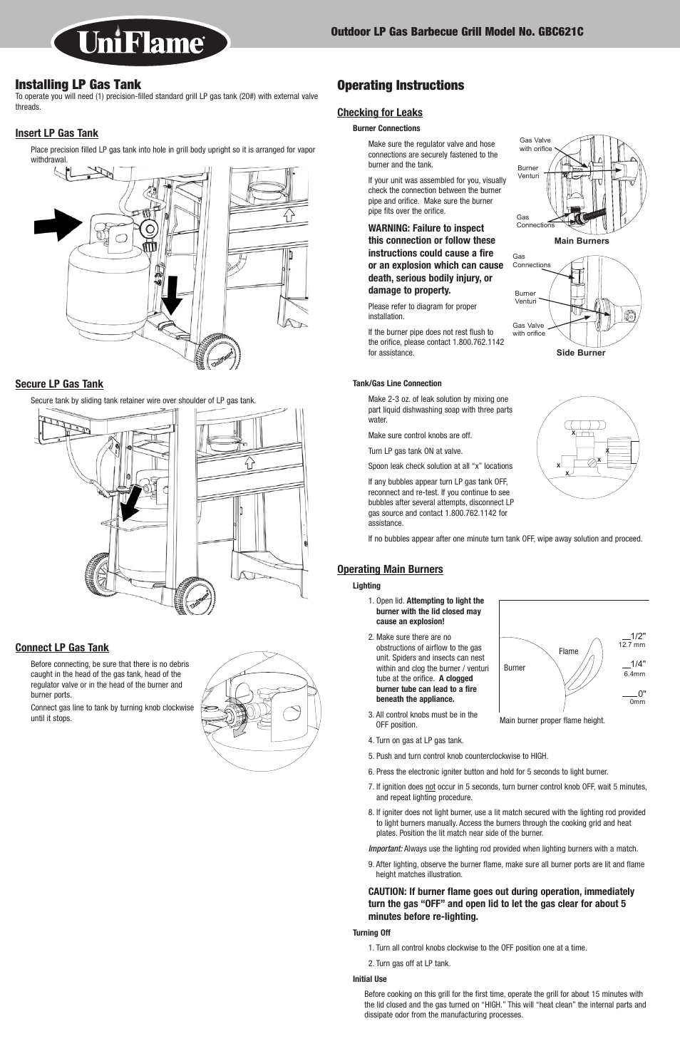 Operating Instructions Installing Lp Gas Tank Blue Rhino Uniflame Gbc Wiring Diagram Gbc621c User Manual Page 6 18