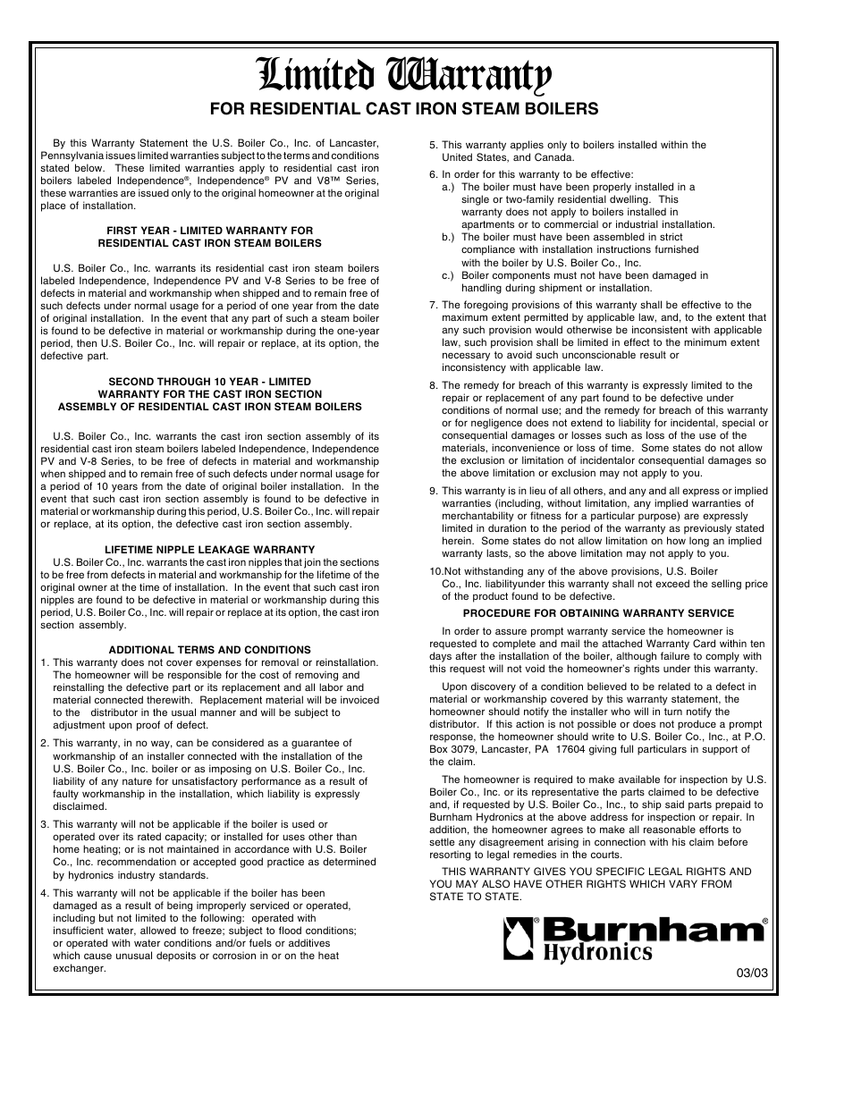 Limited warranty, For residential cast iron steam boilers | Burnham ...